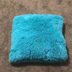 Blue soft fur pillow
